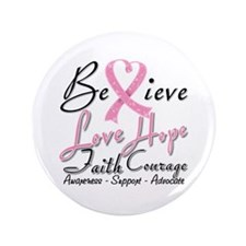 """Breast Cancer Believe Heart Collage 3.5"""" Button"""