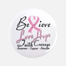 """Breast Cancer Believe Heart Collage 3.5"""" Button (1"""