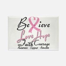Breast Cancer Believe Heart Collage Rectangle Magn