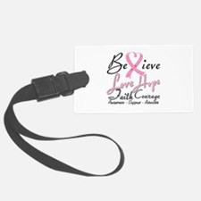 Breast Cancer Believe Heart Collage Luggage Tag