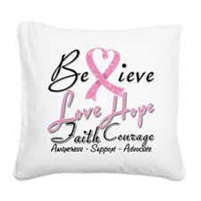 Breast Cancer Believe Heart Collage Square Canvas