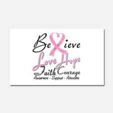 Breast Cancer Believe Heart Collage Car Magnet 20