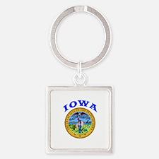 Iowa State Seal Square Keychain