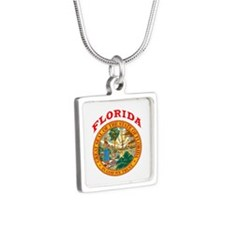 Florida State Seal Silver Square Necklace