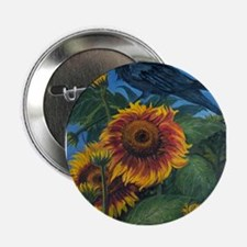"Sunflower and Raven 2.25"" Button"