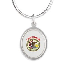 Illinois State Seal Silver Oval Necklace