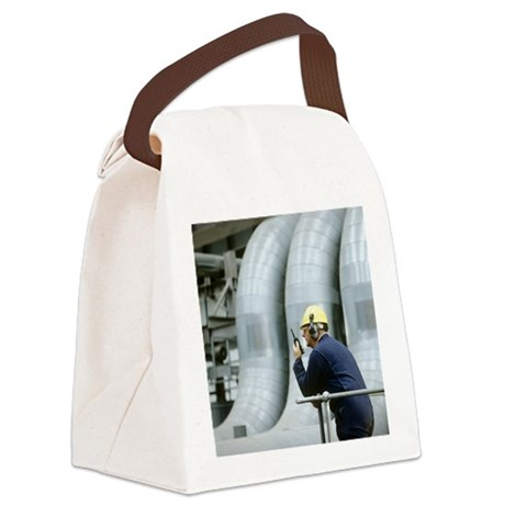 Worker in a power station - Canvas Lunch Bag