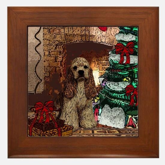 Cocker Spaniel Christmas Watercolor Framed Tile