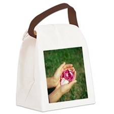 Flower held in hands - Canvas Lunch Bag