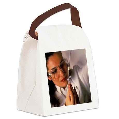 nto a microtube - Canvas Lunch Bag