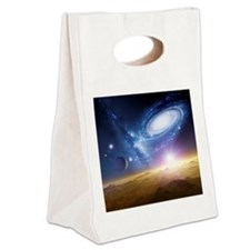 Colliding galaxies, artwork - Canvas Lunch Tote