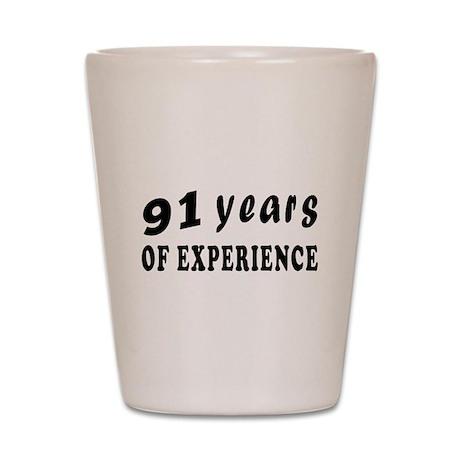 91 years birthday designs Shot Glass