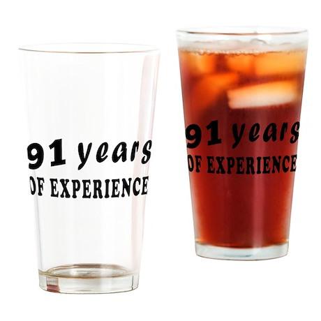 91 years birthday designs Drinking Glass