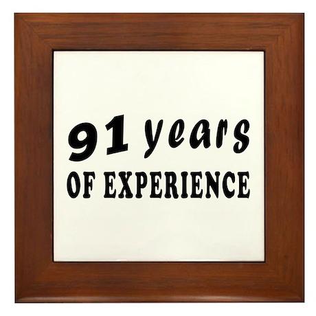 91 years birthday designs Framed Tile