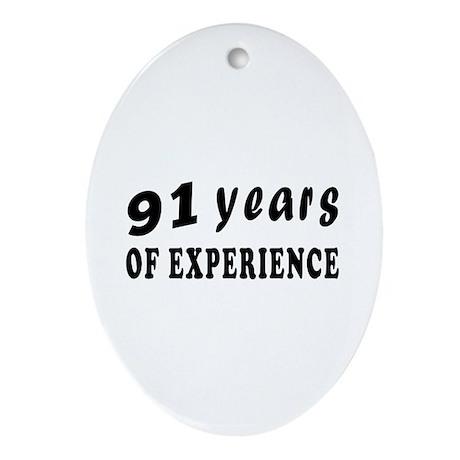 91 years birthday designs Ornament (Oval)