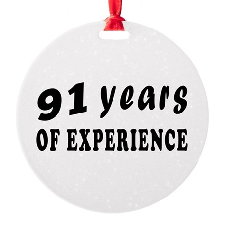 91 years birthday designs Round Ornament