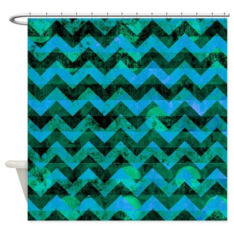 Blue Green Grunge Chevron Pattern Shower Curtain By Poptopia1