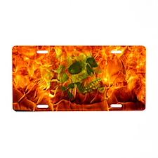 Burning skull Aluminum License Plate