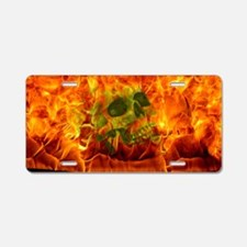 Burning skull Aluminum License Plate