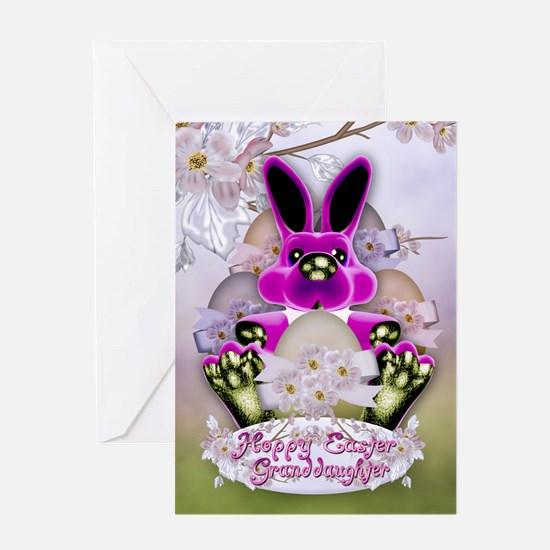 Granddaughter Cute Easter Bunny Greeting Card Hopp