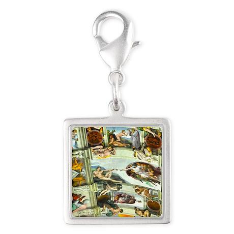 Sistine Chapel Ceiling Silver Square Charm