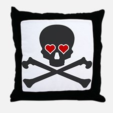 Skull With Hearts Throw Pillow