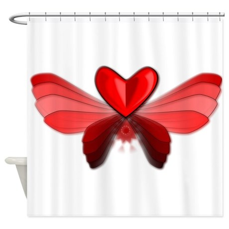Flying Heart With Wings Shower Curtain