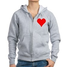 Simple Red Heart Zip Hoodie