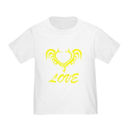 Yellow Love Heart Horns Toddler T-Shirt Yellow Love Heart ...