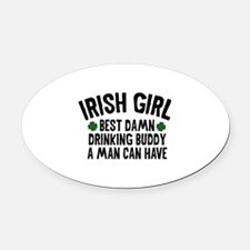 Irish Girl Oval Car Magnet