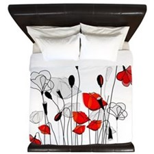 Whimsical Red Poppies King Duvet