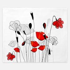 Whimsical Red Poppies King Duvet