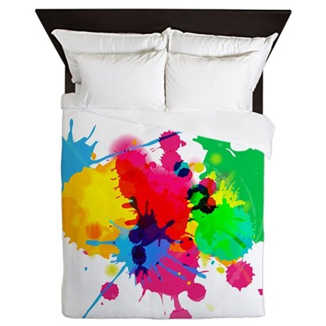 Abstract Paint Splatters Queen Duvet