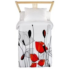 Whimsical Red Poppies Twin Duvet