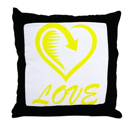Yellow Love Throw Pillow : Yellow Love Heart Throw Pillow by HeartsMeanLove