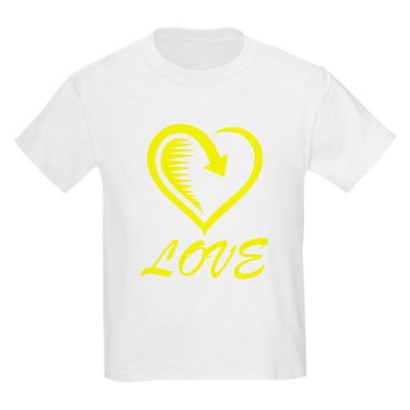 Yellow Love Heart Kids Light T-Shirt Yellow Love Heart T ...