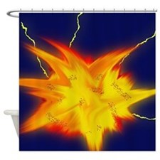 Explosion: Flame and Lightning Shower Curtain