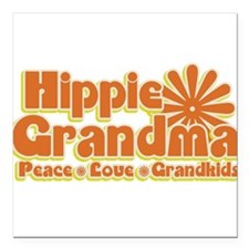 "Hippie Grandma Square Car Magnet 3"" x 3"""