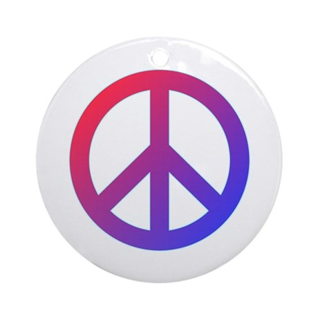purple blue red peace sign ornament round by