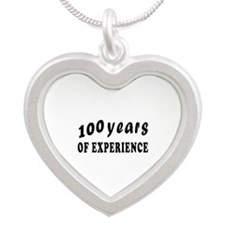 100 years birthday designs Silver Heart Necklace