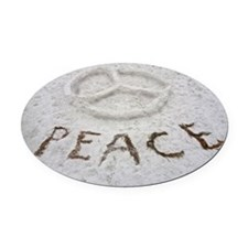 Peace Symbol Oval Car Magnet