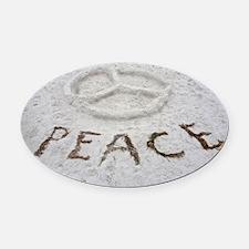 Peace Symbol Oval Car Magnet