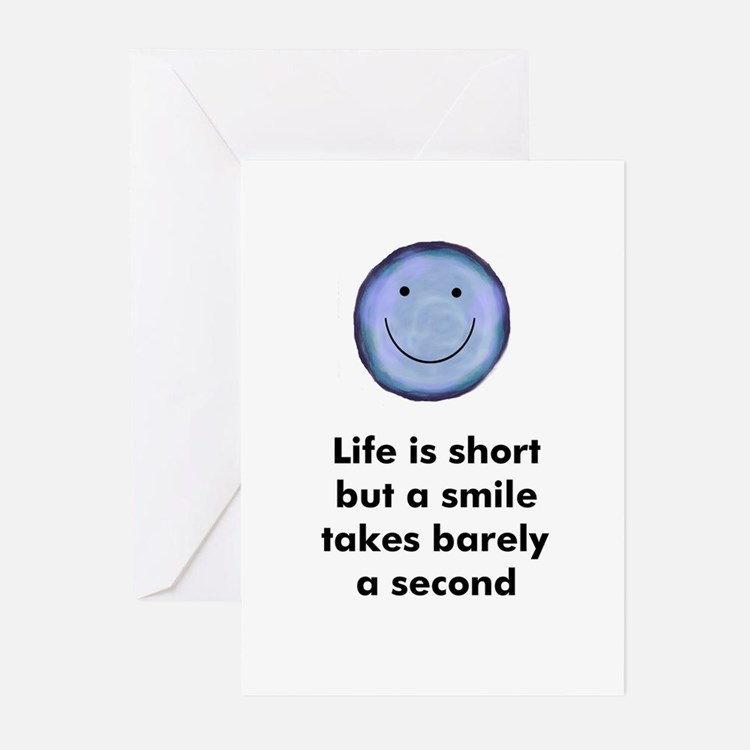 Life is short but a smile tak Greeting Cards (Pack
