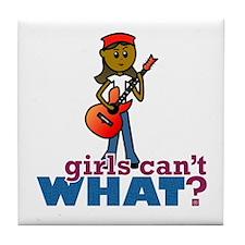 Girl Playing Guitar Tile Coaster