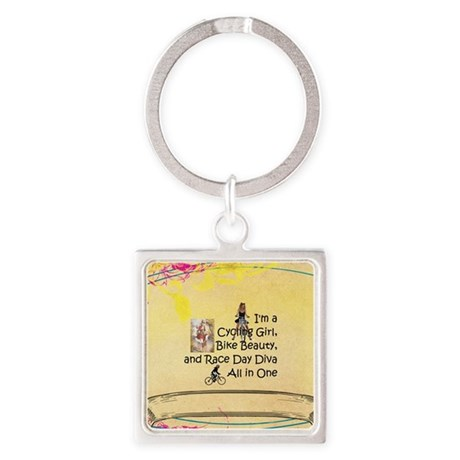 Cycling Race Diva Square Keychain
