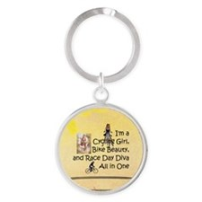 Cycling Race Diva Round Keychain Keychains