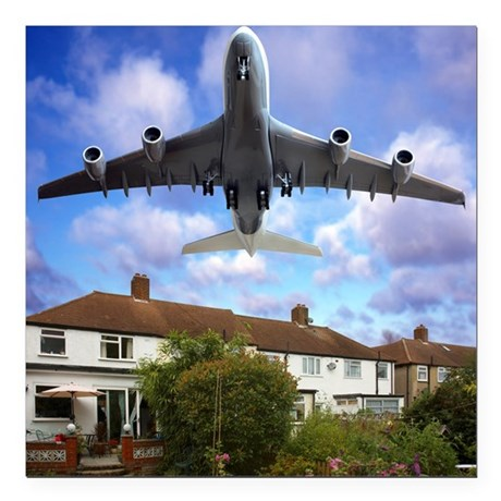 Low flying plane - Square Car Magnet 3