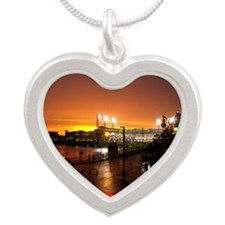 Pittsburgh Sunset Silver Heart Necklace