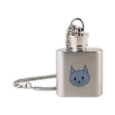 Blue Cat Face. Flask Necklace