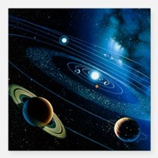 Artwork of the solar system - Square Car Magnet 3